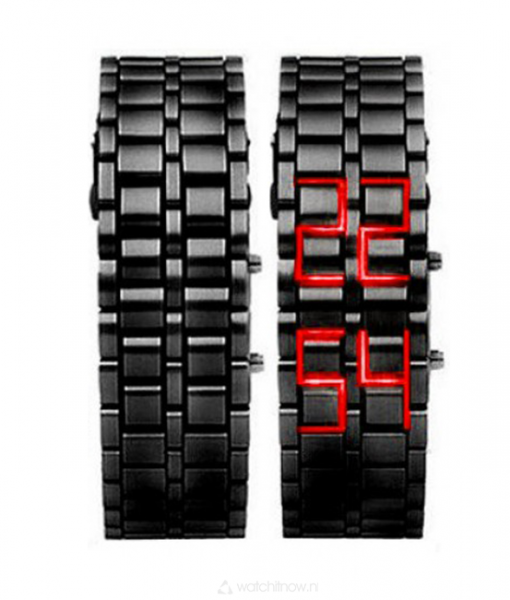 black-samurai-rode-rood-led-horloge-goedkoop-watchitnow-metalen-band-zwart