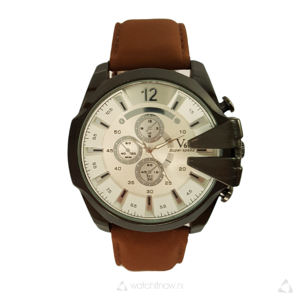 Groot V6 Superspeed Xxl Heren Horloge Faux Leren Band